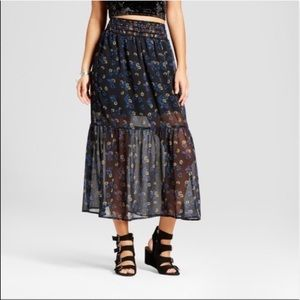 Xhilaration Black Floral Tiered Midi Skirt Medium
